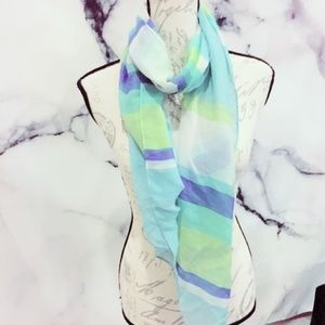 Blue Striped Scarf NWOT